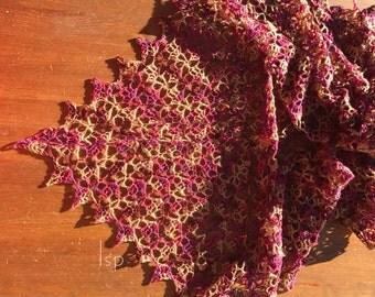 Crochet Lace Merino, Silk, and Cashmere Triangular Shawl