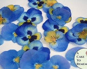 "24 blue and yellow edible wafer paper pansy, 1.5"" - 2"" wafer paper flower cupcake toppers. Pansies good for vegan cakes and cookies"