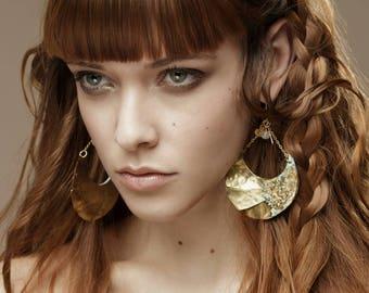Gold earrings, unique earrings, ethnic earrings, rustic earrings, wire wrapped earrings