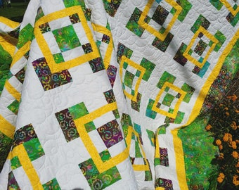 Tropical Caribbean Modern FULL or QUEEN size quilt in  Bright White & Sunshine Yellow BATIK quiltsy handmade.  Pillow covers included.