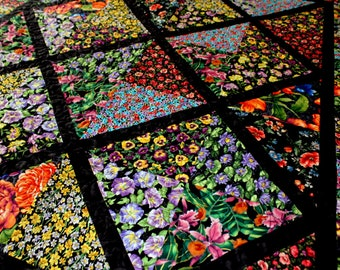 LAP QUILT. Breathtaking Lattice Flower Garden  Tropical. Wheelchair Quilt. Daffodils. Pinks. Morning Glory. Pansies. Handcrafted.