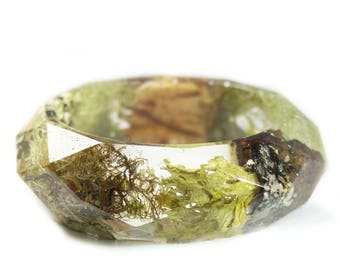 Forest Moss Bracelet- Real Moss Bracelet- Flower Jewelry- Resin Jewelry- Flower Bangle- Moss Bracelet- Moss jewelry