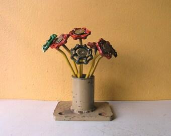 ONE red metal flower stake indoor garden art shotgun shell faucet handle cute office table vase filler coworker friend mom gift industrial