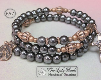 Men's Rosary Bracelet•Rosary Wrap Bracelet•Hematite Rosary Bracelet•Rosary•Confirmation Gift•Gift For Husband•Gift For Son•Our Lady Beads