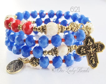 Rosary Bracelet Wrap,4th July Red White Blue Crystals,Mother's Gift,Godmother's Gift,Confirmation Gift,Catholic Bracelet,Religious Gift,#621