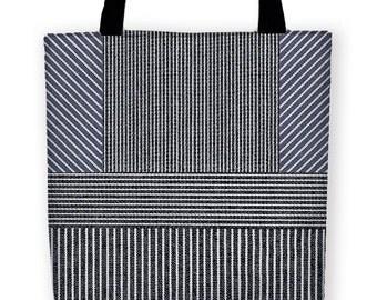 RAILROAD ENGINEER Carryall Tote Bag, Vintage Style Simulated Denim Pinstripe Pattern