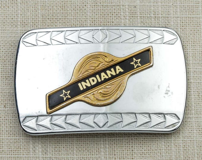 Indiana Belt Buckle Shiny Silver Gold Black Arrows Stars USA Indianapolis Vintage Belt Buckle 7G