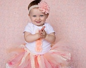 Peach and Ivory Lace First Birthday Tutu Set and Matching Headband | Shabby Chic Birthday Outfit