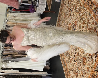 Wedding dress Art Deco Beaded gown 1920s 1930s Gatsby wedding