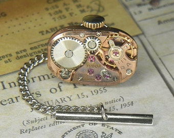 Steampunk Tie Tack/Lapel Pin - TORCH SOLDERED - Vintage Rose Gold TUDOR Watch Movement Beautiful Patina - Anniversary Birthday Wedding Gift