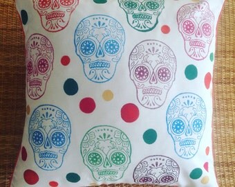 sugar skull hand printed cushion