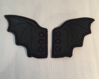 Red Glitter Faux leather Bat wing  inspired shoe wings great for Comicon and Christmas stockings