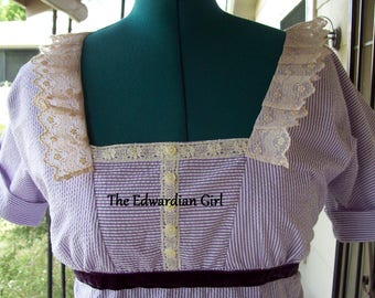 Custom made inspired purple and white strolling dress. Edwardian era, Titanic, Downton Abbey  Made in USA