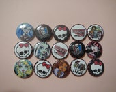 15  Monster High  Inspired Character Pinback Button Shower Goody Gift Treat  Party Favors Brooches