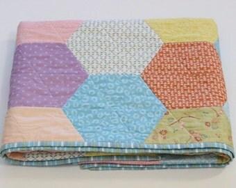 Handmade Baby Quilt for Girls, Hexagon Quilt