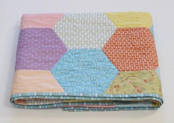 Handmade Pastel Baby Hexagon Quilt