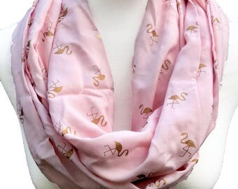 Infinity / Loop Scarf - Pink Scarf with Gold  Flamingos