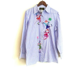Vintage Bob Mackie Wearable Art Tunic Blouse // 1980s Bob Mackie Shirt // Vintage Clown Shirt