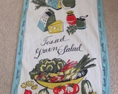 Salad Veggies Vintage Novelty Cotton Irish Linen Kitchen Hand Towel
