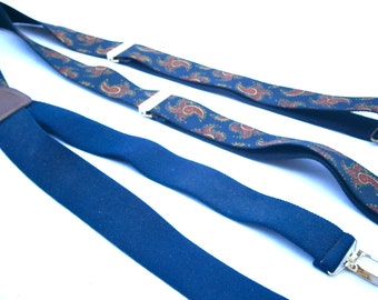 Vintage Paisley Adjustable Suspenders Navy Blue Stretch Elastic Unisex Brown Maroon Pelican USA Germany Man Woman Accessory Leather Wedding