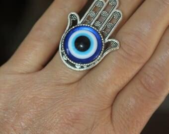 Hamsa ring, silver ring, large Hamsa ring, custom rings, evil eye ring, Hamsa charm, evil eye charm, adjustable ring, metal ring, charm ring
