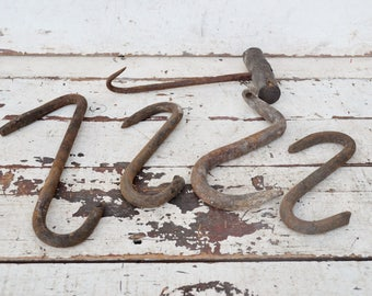 Vintage Cast Iron Hooks Mixed Lot of 5 Five Rusty Weathered Barn Farm Meat Hay Hooks Wood Handled Industrial Primitive Upcycle Repurpose