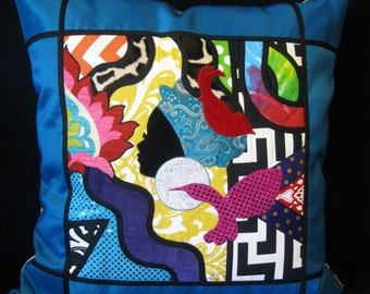 Abstract art work teal blue plum satin border pillow cover 24 X 24