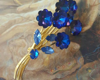 Vintage Cobalt Tourmaline Beautiful Spray Floral Rhinestone Brooch Pin