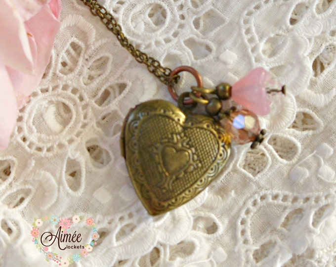 heart locket, victorian locket, brass locket, antique bronze locket, photo locket, memory locket, children's locket, vintage locket