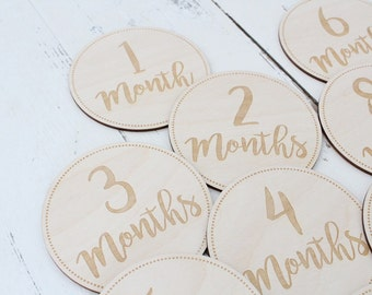 Monthly Stickers Alternative Milestone Stickers Alternative Baby Monthly Engraved Wood Slices