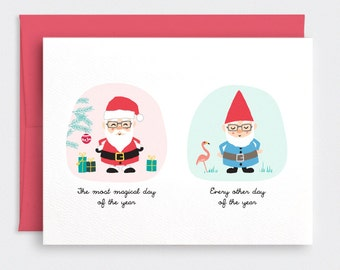 Funny Christmas Card - Santa and Garden Gnome, Most Magical Day of the Year - Cute Holiday Card, Recycled Card