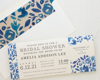 "Blue Watercolor Bridal Shower Invitations, Boho Shower Card with Matching Envelope Liner, Unique Bridal Shower, 3.00/each - ""Floral Blues"""