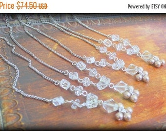SPRING SALE Set of 4 Vintage Couture Bridesmaids Necklaces Vintage Czech Crystals and Vintage Champagne Glass Pearls