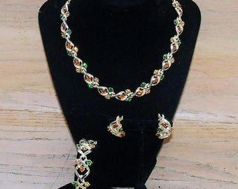 SAVE NOW Necklace Earrings Bracelet Set Signed Coro Pegasus Green Orange Amber Rhinestones Gold Tone Vintage Jewelry Jewellery Gift Women Mi