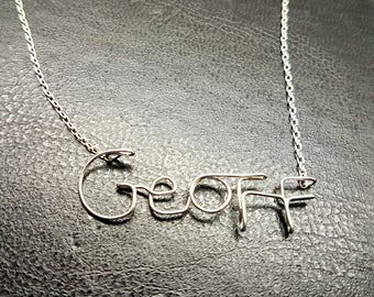 """Name Pendant  """"Geoff'  Sterling Silver Custom Wire Word  Necklace Designer in UK"""