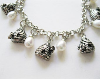 Bee Alive Charm Bracelet Beehives and Faux Pearls Bridesmaid Gift free shipping