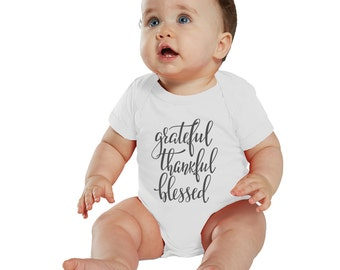 Grateful, Thankful & Blessed baby bodysuit or Shirt White/Charcoal