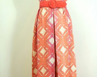 Vintage Late 1960s Maxi Dress. With Tag. Dallas Designer. Sleeveless. Pinks. Small to Medium Small