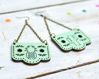 Mint Green Papel Picado Earrings, Mexican Bunting Jewellery, Dia De Los Muertos, Dangle Earrings, Nickel Free