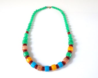 bakelite trade bead jade necklace