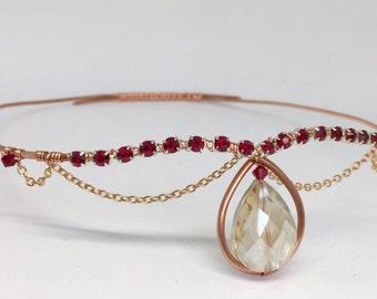 Champagne Rose Red Crown - Festival Headpiece - Rhinestone Tiara - Red Mermaid Crown