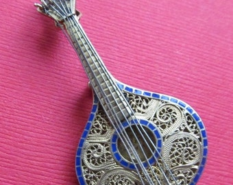 On Sale Antique Vermeil Silver Filigree And Enamel Mandolin Brooch Pin Jewelry