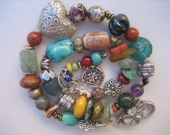 15%off AFRICAN TRADE Beads BRACELET Sterling Heart big bold boho