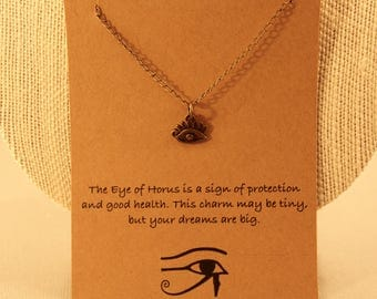 Eye of Horus: Antique Bronze Eye of Horus Necklace, Protection, Wish Necklace, Wish Jewelry, Friendship Necklace, Best Friends