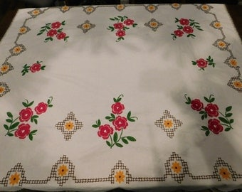 Vintage Floral Embroidered Table Cloth  CB3
