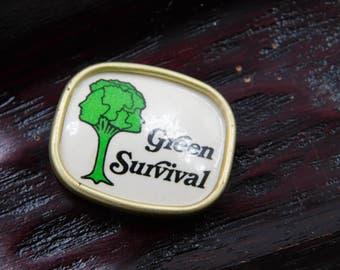 Vintage Green Survival Vintage TREE HUGGER Pin 1970s Green Survival Broach      dr33