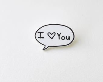 I love you comic book word bubble Shrink Plastic Pin