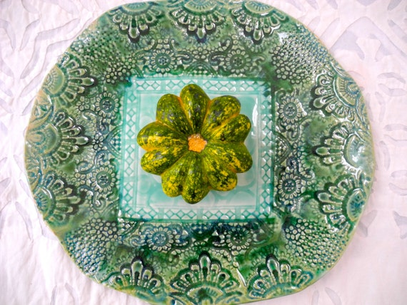 Green Platter, Decorative Plate, Pottery Platter, Ceramic Platter, Textured Pottery, Lace Pottery, Moroccan Decor, Forest Green, Boho Decor