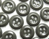"""Charcoal Gray: 9/16"""" (14mm) Buttons - Set of 22 New / Unused Matching Buttons"""
