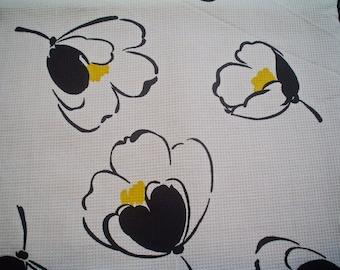 Vintage Cotton Pique Fabric Black and White Poppy Flower Print